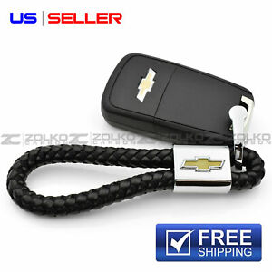 Keychain Key Chain Ring Black Leather For Chevrolet Chevy Ee18 Us Seller