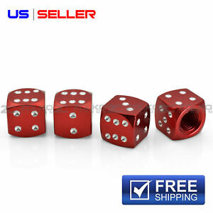 4 Anodized Aluminum Dice Valve Stem Caps Wheel Tire Red Vd01 Us Seller