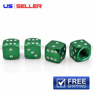 4 Anodized Aluminum Dice Valve Stem Caps Wheel Tire Green Vd06 Us Seller