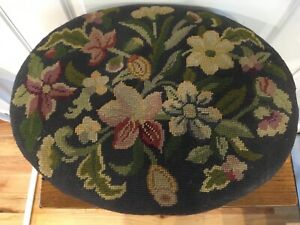 Antique Victorian Oval Needlepoint Petit Point Ottoman Stool Floral