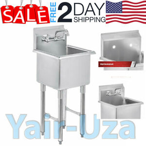 Stainless Steel Prep Utility Sink Compartment Commercial Kitchen Laundry