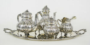 Italian Milanese 1960 S Solid Silver 800 Tea Coffee Set With Tray 3802 Grams