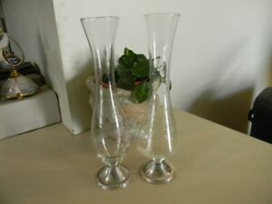Pair Of Vintage Mayflower Sterling Silver And Etched Glass Bud Flower Vases 10