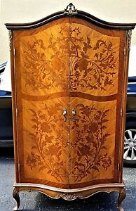 Antique French Louis Xv Mahogany Gilded Bronze Mounted Floral Marquetry Armoire
