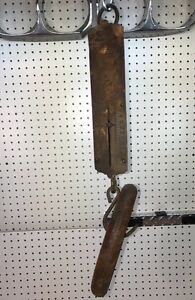 Antique Brass Landers Hanging 40lb Spring Scale Works Great Excellent Patina