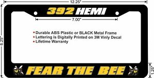 Scat Pack Fear The Bee 392 Hemi Yellow Custom License Plate Frame