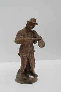 Vintage Old Brass Handcrafted Man Playing Violin Figure Statue Decorative Nh1556
