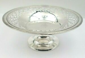 Vintage Gorham Sterling Silver Nut Or Candy Dish On Pedestal W Cutout Design
