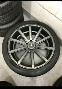 Set Of 4 Xo Tokyo 22 Inch Rims Wheels 22x9 Grey Silver Et 42 5x130 With Tires
