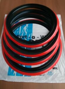 New 4x 16 Rim Black Red Wall Topper Universal Tire Insert Tyre Trim Red Line