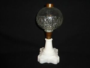 Antique Victorian 19th C Milk Clear Glass Kerosene Oil Lamp Base