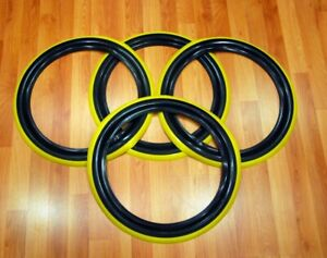 Classic Tires 13 Inch White Wall Port A Wall Yellow Line stripe Set Of4 Hot Rod