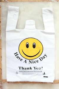 1000 T shirt White Thank You Plastic Bag Retail Grocery Store Shopping Carry Out