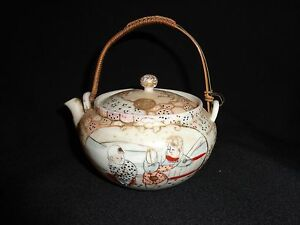 Small Vintage Japanese Hand Painted Porcelain Woven Handled Teapot