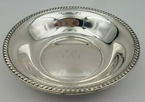 Sterling Silver Candy Or Nut Bowl W Gadroon Edge R Monogram In Middle 6555