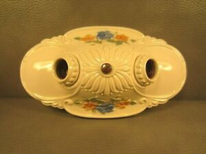 Antique 30s Vintage Art Deco Porcelain Ceiling Light Fixture Ceramic Flowers