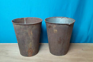 2 Large Antique Tin Sap Bucket W Old Rustic Color Great Decor Flowers Planters