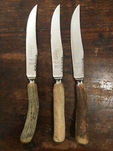3 Vintage Premier Sheffield England Steak Serrated Knives W Stag Horn Handle
