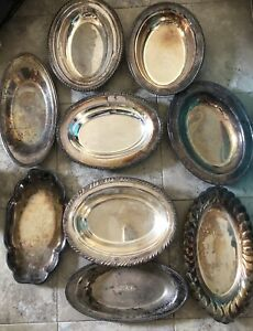 Silver Plated Tray Lot Of 9