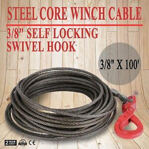 3 8x100 Steel Core Winch Cable Self Locking Swivel Hook Flatbed 4400lbs V strap