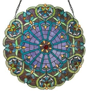 Stained Glass Victorian Webbed Heart Window Panel 23 Round Tiffany Style