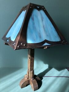 Arts Crafts Mission Lamp Stained Slag Glass Shade Oak Base Handmade Bungalow