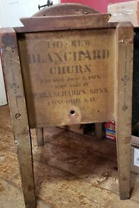 Yellow Mustard Paint The New Blanchard N H Wooden Butter Churn Antique 1878
