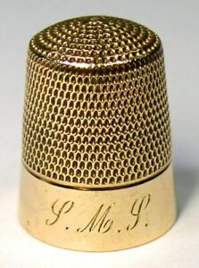Antique Simons Brothers Gold Thimble S M S Monogram