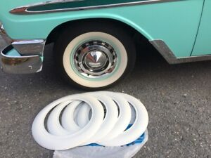Old Timer 4x15 Wide White Wall Trim Chevy Bel Air 150 210 Ford Custom Hot Rod
