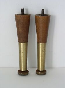 Vintage Mid Century Salvaged Tapered Peg Wood Furniture Legs Medium Stain Lot 2