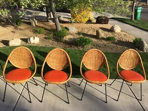 Mid Century Modern Danny Ho Fong Wicker Rattan And Iron Dinette Chairs Tropical