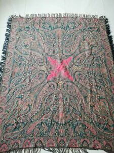 Antique French Paisley Kashmir Square Piano Shawl Wool Size 69 X54 Table Cloth