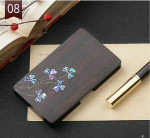 Chinese Red Sandle Copper Wood Business Name Card Holder Flower Pattern