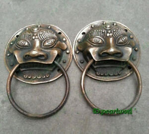 Rare Old Copper Statue A Pair Lucky Stately Lion S Head Archaic Door Knocker