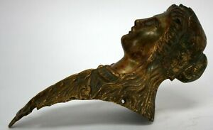 Beautiful Antique Brass Woman Architectural Salvage Clock Finial Hardware
