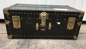 Vtg Antique Overland Black Steamer Trunk Storage Chest Luggage Coffee Table