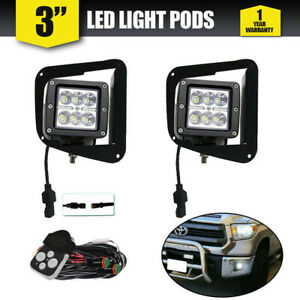 Pair 3inch 18w Led Driving Lights Spotlights Round Spot Black Offroad 3x3