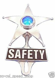 Safety Star Blue Dot Light Vtg Style License Plate Topper Rat Hot Rod Lowrider