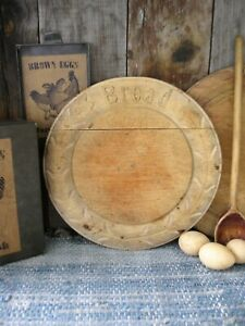 Round Antique Carved Wood Bread Cutting Board Original Surface Free Shipping