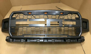 Abs Gray Grill Bumper Honeycomb Grille Fit For Ford 2018 2019 F150 3 Amber Led