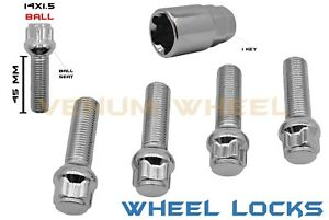 Audi Chrome Ball 4pc 45mm Extended Shank 14x1 5 Wheel Locks Key