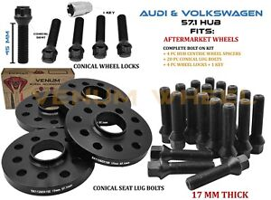 5x100 5x112 17mm Hub Centric Wheel Spacer Lug Bolt Kit Wheel Locks Fits Audi