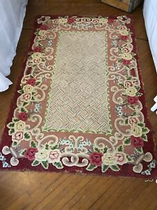 Vintage Early American 1900s Hand Hooked Hand Stitched Floral Rose Area Rug