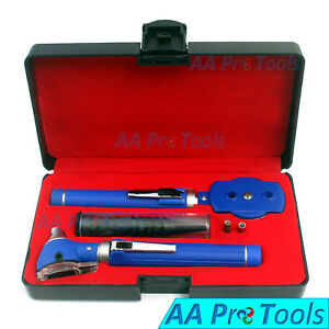 Otoscope Ophthalmoscope Blue Fiber Optic Examination Led Ent Diagnostic Set