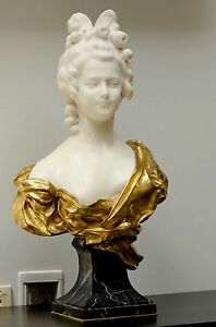 Amazing Art Deco Italian Carrara Marble Bust Of Lady A Gory Well Listed