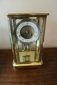 A Large Japy Freres Victorian Four Glass Mantel Regulator Clock Fully Working