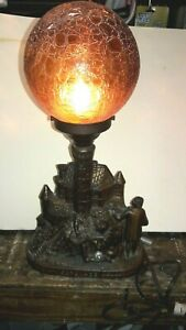 Antique Serenade Figural Lamp Men Playing Mandolins Amber Globe Cast Metal 20 S