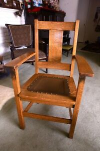 Limberts Arts Crafts Mission Tiger Oak Armchair Leather And Brass Tack Seat