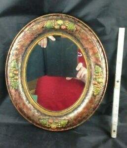 14 5 Antique Aesthetic Carved Fruit Polychrome Gesso Wood Gold Oval Wall Mirror