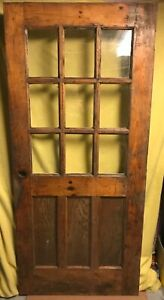 Antique Craftsman 9 Pane Glass 3 Panel Wood Exterior Entry Door 36x80